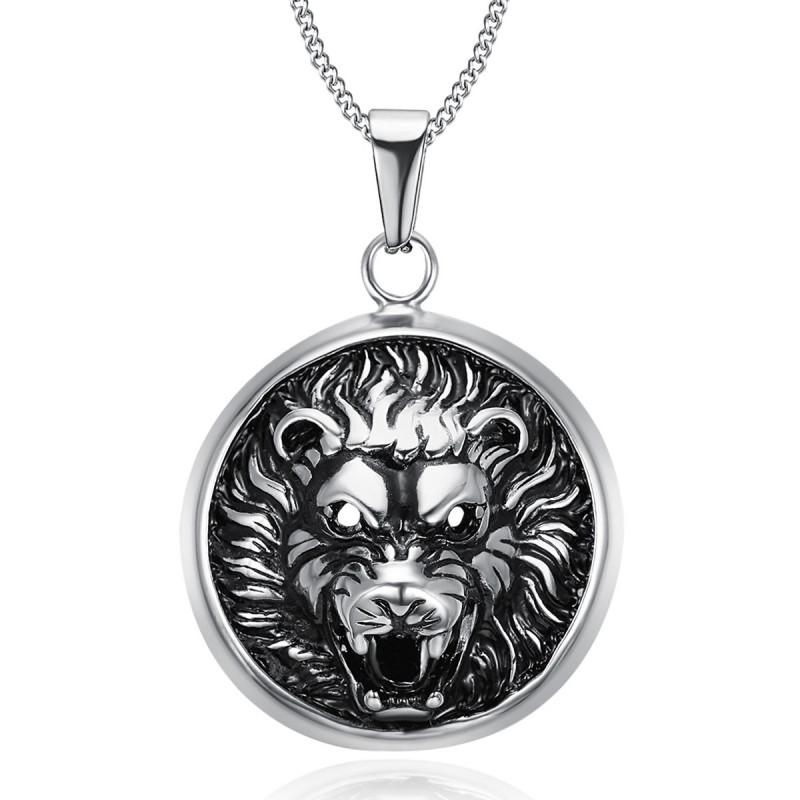 PE0205 BOBIJOO Jewelry Imponente Ciondolo Testa di Leone 3D Sole in Acciaio