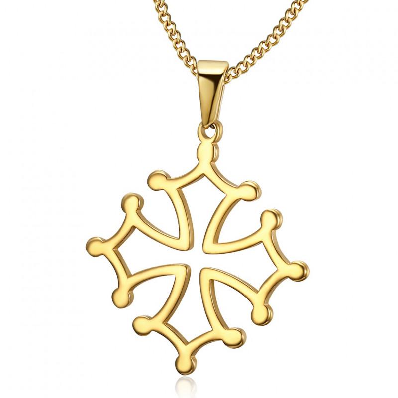 PE0206 BOBIJOO Jewelry Anhänger Kreuz Fremdenverkehrsamtes Languedoc-Stahl Halskette-Gold