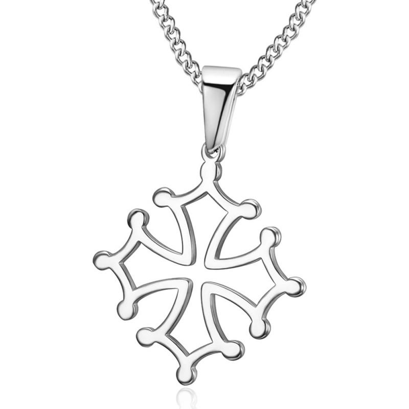 PE0207 BOBIJOO Jewelry Pendentif Croix d'Occitanie Languedoc Acier Argent