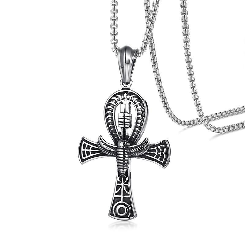 PE0209 BOBIJOO Jewelry Ciondolo Croce della Vita Ankh, Simbolo Egiziano Acciaio