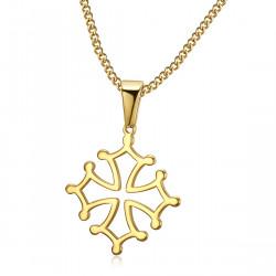 PEF0053 BOBIJOO Jewelry Colgante Cruz de Occitania, 20mm Languedoc Collar de Acero de Oro
