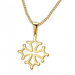 PEF0053 BOBIJOO Jewelry Pendant Cross of Occitania, 20mm Languedoc Steel Necklace Gold