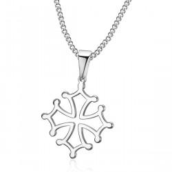 PEF0054 BOBIJOO Jewelry Colgante Cruz de Occitania, 20mm Languedoc Collar de Acero