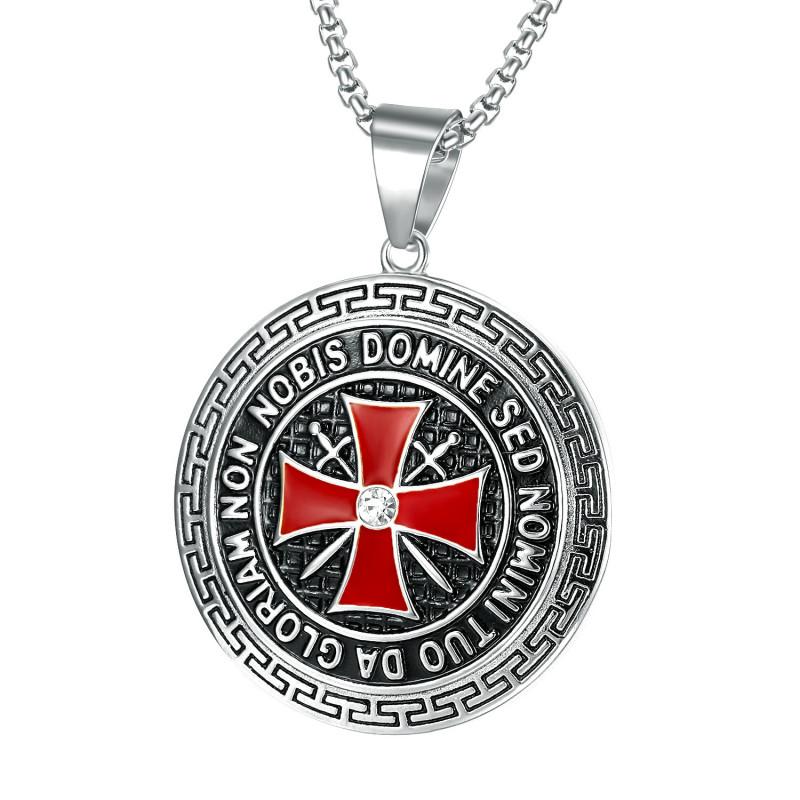 PE0192S BOBIJOO Jewelry Ciondolo Templare In Acciaio Silver Cross Non Nobis