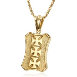 PE0170 BOBIJOO Jewelry Ciondolo Templare Militare Stemma Croce In Acciaio Oro + Catena