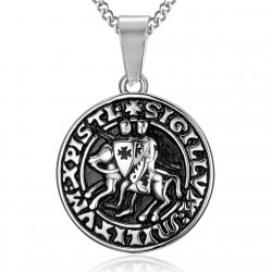 PE0199 BOBIJOO Jewelry Pendant Necklace Seal of the knights Templar Steel Silver