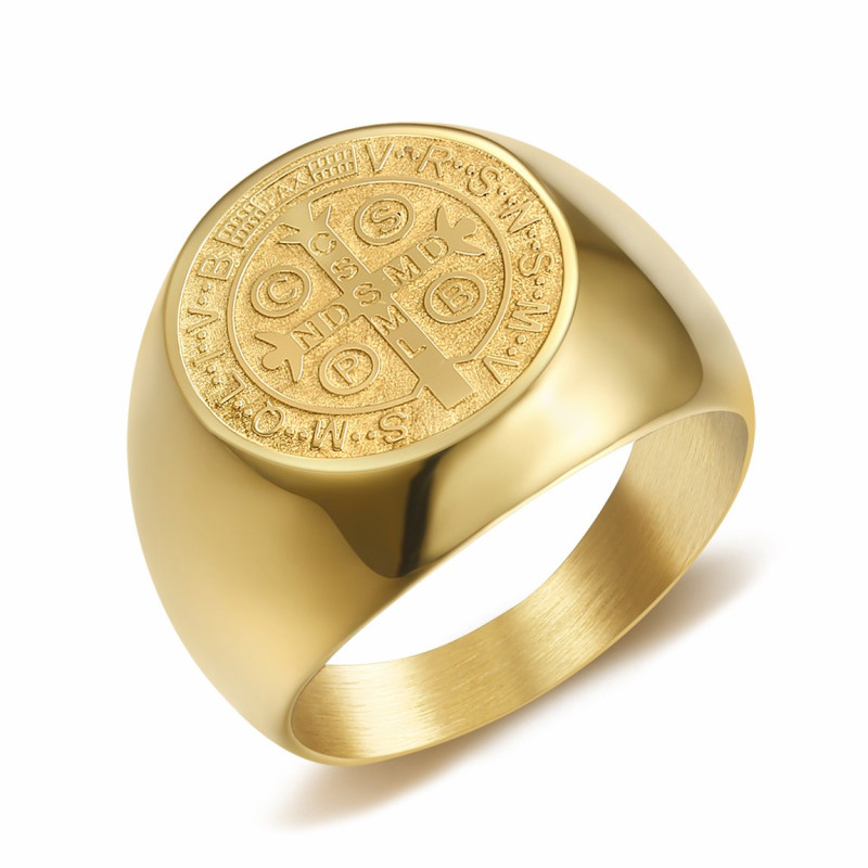 BA0322 BOBIJOO Jewelry Ring Signet Ring Man Medal Of St. Benedict Gold