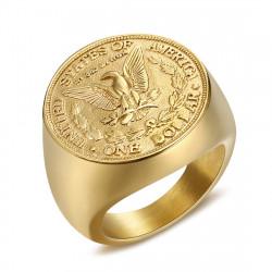 BA0327 BOBIJOO Jewelry Ring Siegelring-Mann-Stück One Dollar Stahl Gold
