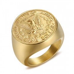 BA0327 BOBIJOO Jewelry Ring Signet Ring Man Piece One Dollar Steel Gold