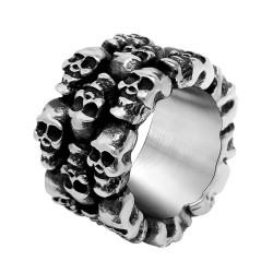 BA0324 BOBIJOO Jewelry Bague Chevalière Anneau Biker Crâne Tête de Mort