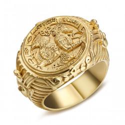 BA0326 BOBIJOO Jewelry Imponente Anello Ad Anello Con Castone L'Egitto, Il Faraone Acciaio Oro