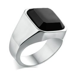 BA0329 BOBIJOO Jewelry Ring Siegelring Mann Cabochon-Achat-Onyx-Stahl