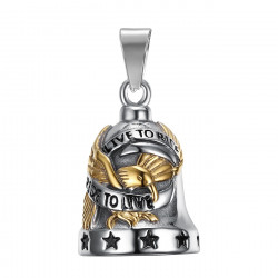 MOT0008 BOBIJOO Jewelry Bell brings good luck Motorcycle 316L Steel lion Head