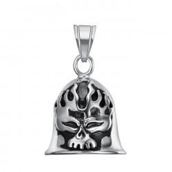 MOT0010 BOBIJOO Jewelry Cloche Porte Bonheur Moto Acier 316L Tête de Mort Flamme