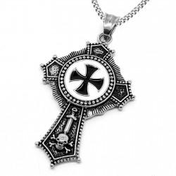 PE0119 BOBIJOO Jewelry Ciondolo In Acciaio Croce Templare Pattee Nero