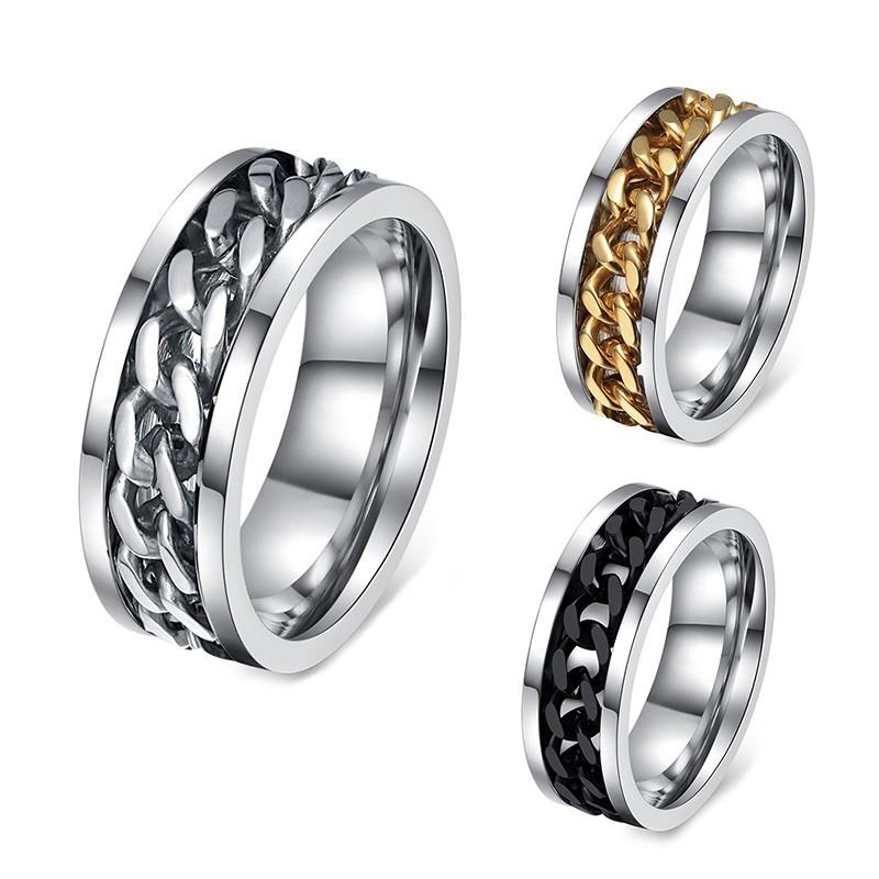 BA0034 BOBIJOO Jewelry Anillo Alianza De La Cadena De Hombre De Acero Inoxidable, Oro De Acero Inoxidable Negro