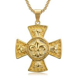 Large Médaillon Pendentif Croix Pattée Templier Lys Or bobijoo