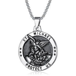 PE0210 BOBIJOO Jewelry Pendant, Saint Michael The Michael Protection, Steel