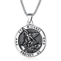 Pendentif Saint Michel Michael Protection Acier bobijoo