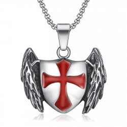 PE0211 BOBIJOO Jewelry Pendant Templar Knight Shield Winged Cross Red