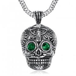 PE0212 BOBIJOO Jewelry Grande Ciondolo teschio in Acciaio Argento Maya Biker