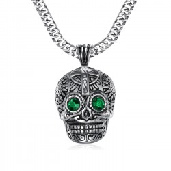 PE0213 BOBIJOO Jewelry Kleiner Anhänger totenkopf Silber Stahl Maya-Biker