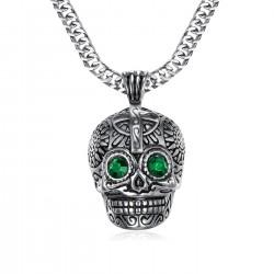 PE0213 BOBIJOO Jewelry Small Pendant Death skull Steel Silver Mayan Biker