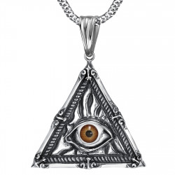 PE0215 BOBIJOO Jewelry Anhänger Schmuck Illuminati Auge der Vorsehung Stahl