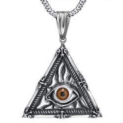 PE0215 BOBIJOO Jewelry Ciondolo Gioielli Illuminati Occhio della Provvidenza in Acciaio