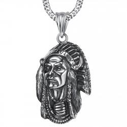 PE0216 BOBIJOO Jewelry Grand Pendentif Collier Tête Indien Biker Triker Acier