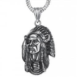 PE0216 BOBIJOO Jewelry Large Pendant Necklace Indian Head Biker Triker Steel