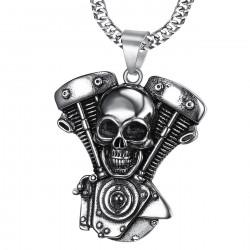 PE0217 BOBIJOO Jewelry Ciondolo Solido Biker Motore cranio Teschio in Acciaio