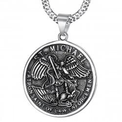 PE0218 BOBIJOO Jewelry Colgante Grande De San Miguel Michael Patrona De La Policía De Acero