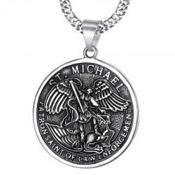 PE0218 BOBIJOO Jewelry Grande Ciondolo A San Michele Michele Patrono Della Polizia Di Acciaio