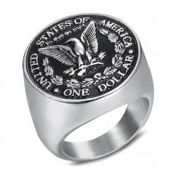 BA0328 BOBIJOO Jewelry Ring Siegelring-Mann-Stück One Dollar Stahl