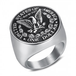 BA0328 BOBIJOO Jewelry Ring Signet Ring Man Piece One Dollar Steel