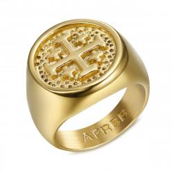 BA0336 BOBIJOO Jewelry Anello Uomo Cavaliere Ordine Dei Templari Jerusalem Gold