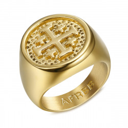 BA0336 BOBIJOO Jewelry Signet Ring Man Knight Templar Order Jerusalem Gold