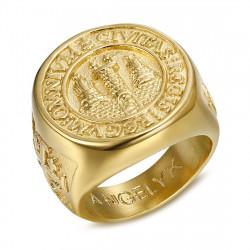 BA0337 BOBIJOO Jewelry Anello anello Uomo Anello Gerusalemme in Acciaio PVD Oro