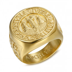 BA0337 BOBIJOO Jewelry Ring Siegelring Mann Siegel Jerusalem Stahl, PVD Gold