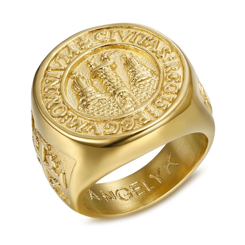 BA0337 BOBIJOO Jewelry Anillo Anillo anillo de Hombre del Anillo de Jerusalén Acero PVD Oro