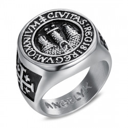 BA0338 BOBIJOO Jewelry Anello anello Uomo Anello Gerusalemme in Acciaio 316L