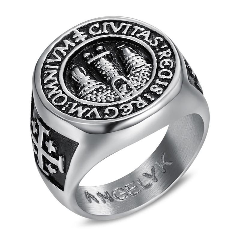 BA0338 BOBIJOO Jewelry Ring Siegelring Mann Siegel Jerusalem Stahl 316L