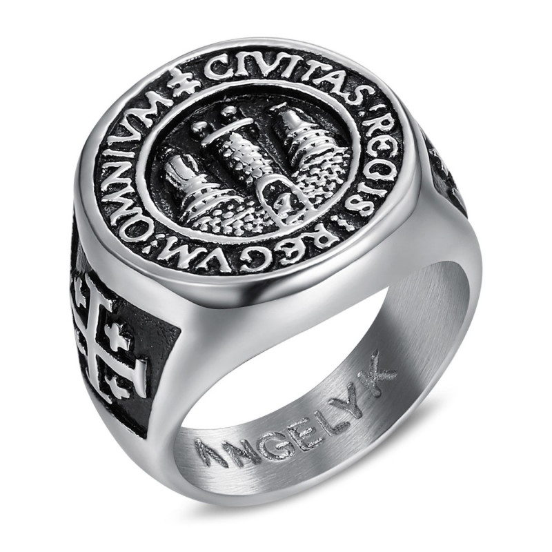 BA0338 BOBIJOO Jewelry Ring Signet ring Man Signet Jerusalem Steel 316L