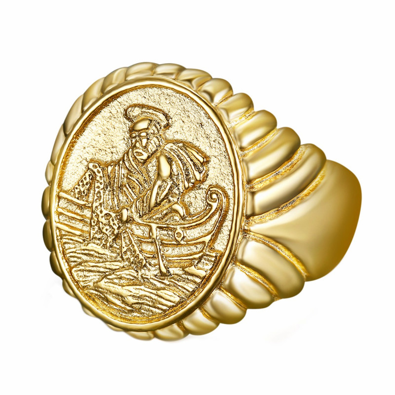 BA0339 BOBIJOO Jewelry Ring Siegelring Ring des Fischers Papst Stahl, PVD Gold