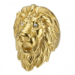 BA0340 BOBIJOO Jewelry Huge Ring Signet ring Man Lion Head Gold Diam s