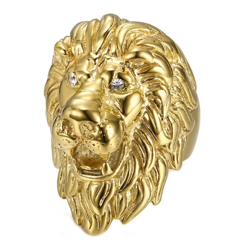BA0340 BOBIJOO Jewelry Huge Ring Signet ring Man Lion Head Gold Diam s