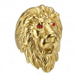BA0341 BOBIJOO Jewelry Enorme Bague Chevalière Homme Tête de Lion Or Rubis