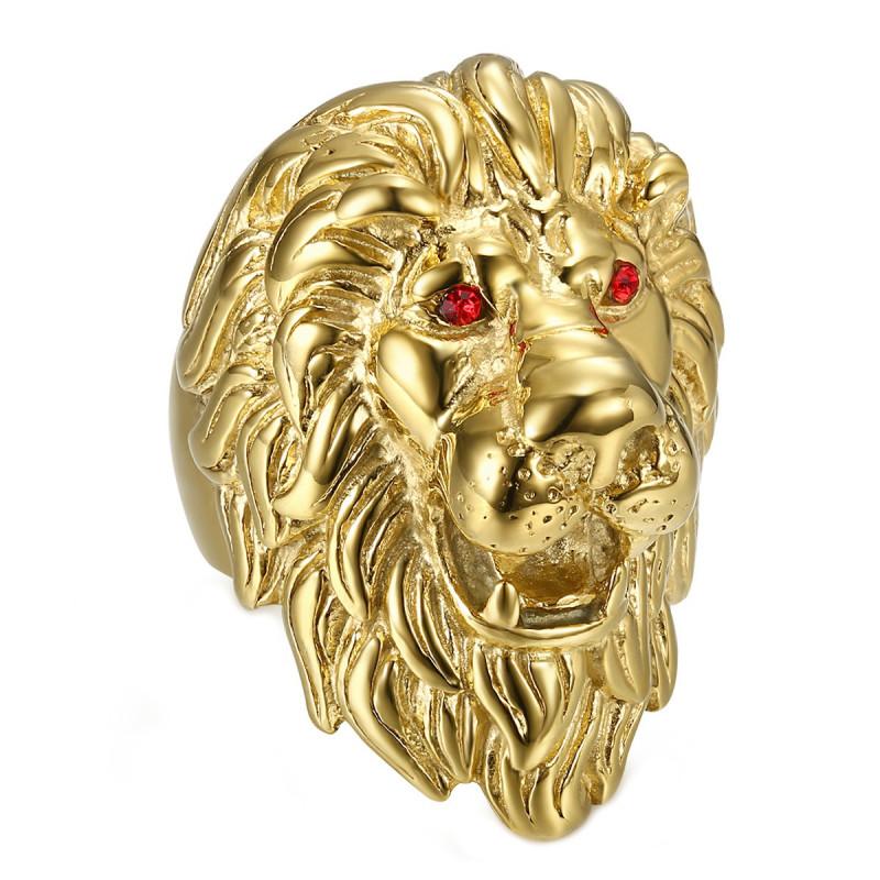 BA0341 BOBIJOO Jewelry Riesiger Ring Siegelring Mann löwenkopf Gold Rubin