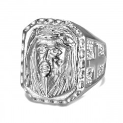 BA0342 BOBIJOO Jewelry Großen Siegelring Ring Kopf Jesu Stahl 316L Kreuz